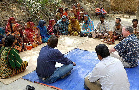 BARA faculty members lead worldwide studies in three broad categories: cultural resources, development, and environmental, like this focus group with cyclone victims in Bangladesh.